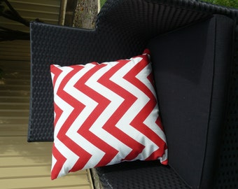 Pillow Throw Cushion Cover  - Red chevron 45cm 18 inches