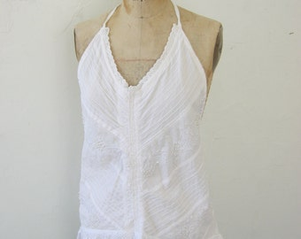 French Sugar Couture -  Parisian Soft Summer White Cotton Halter Top- Altered Couture