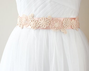 Pink Bridal Sash, Blush Sash, Wedding Belt, Flower Wedding Sash