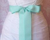 Mint Green Grosgrain Ribbon, 1.5 Inch Wide Bright Aqua Bridal Sash, Grosgrain Wedding Belt, 4 Yards