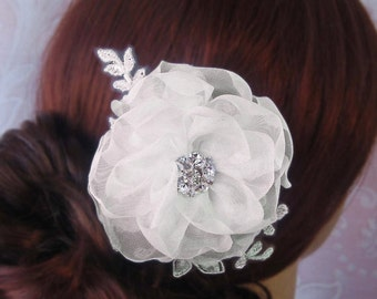 Ivory Silk Organza Hair Flower, Bridal Fascinator, White, Ivory, Champagne Bridal Flower, Lace Hair Clip- APRIL