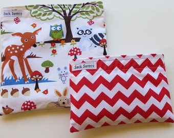 Reusable Sandwich and Snack Bag Set Woodland Animals and Red Chevron