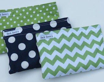 Reusable Snack Bag Set of Three Green Navy Polka Dot Green Chevron