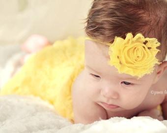 Yellow Shabby Chic Flower Headband Thin Headband Infant Flower Headband newborn headband toddler Photo Prop/ Birthdays / Baby Shower