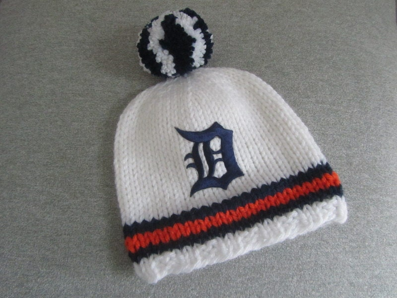 DETROIT TIGERS Hand Knit Baby Hat Detroit Tigers Baby Hat