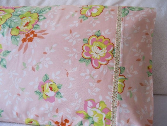Shabby Chic Woodrose Pillowcases : SHABBY CHIC PILLOWCASE 100% Cotton Handmade Cotton