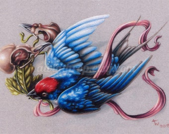 "Swallow and Bird Skulls Illustration 5""x7"" Giclee Mini Print - ""Harbinger"""