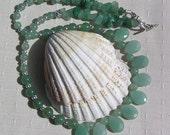 """Green Aventurine Crystal Gemstone Necklace """"Iced Mint"""", Green Necklace, Aventurine Necklace, Chakra Necklace, Birthday Gift, Aries"""