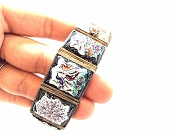 Vintage Persian silver and painted porcelain bracelet  hallmarked semi rigid wide bracelet