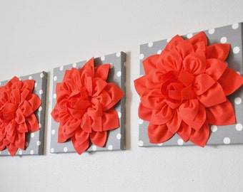"THREE Flower Wall Hangings -Coral Dahlias on Gray and White Polka Dot 12 x12"" Canvas Wall Art- Flower Wall Art"