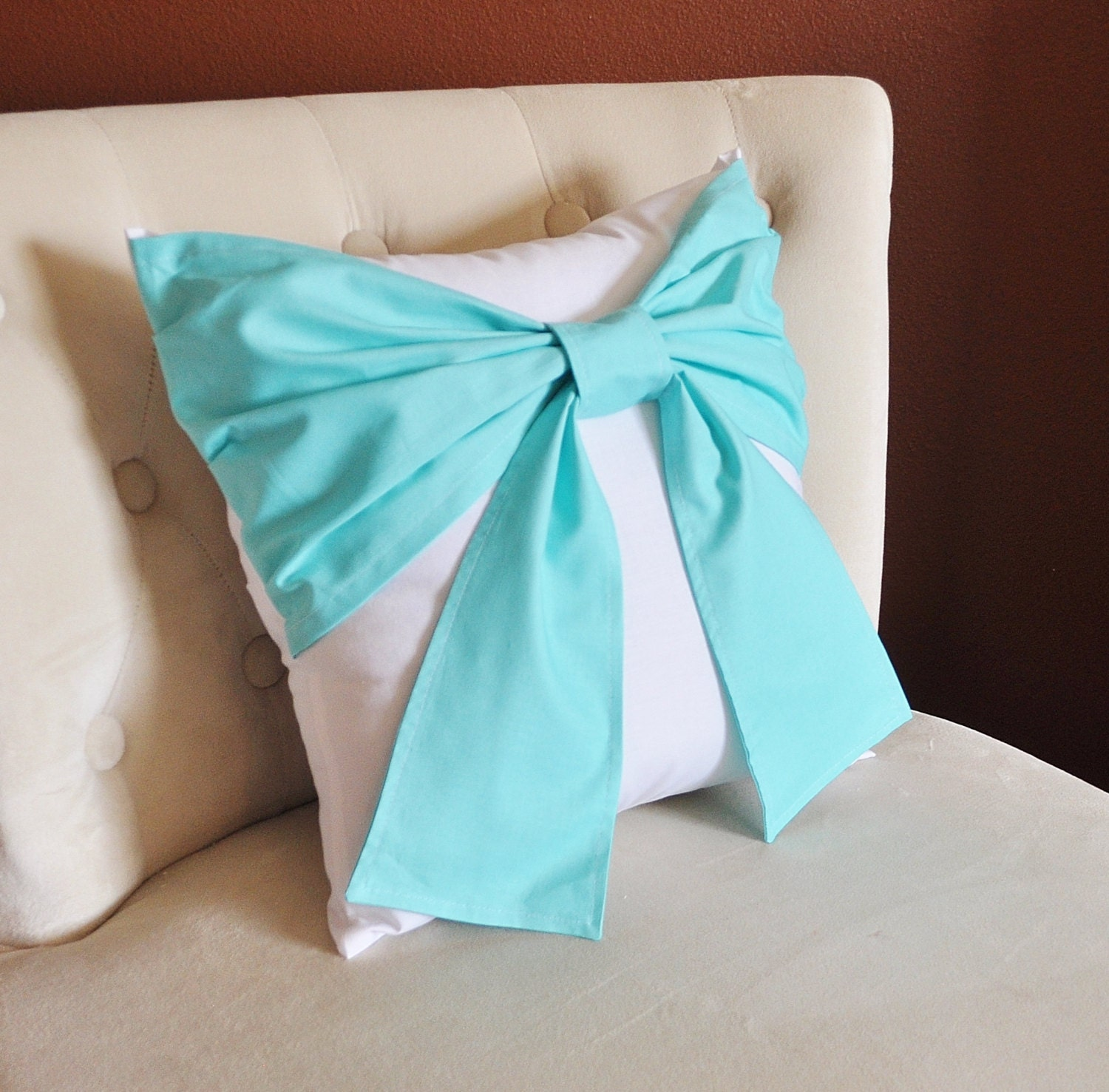Throw Pillow With Bow : Decorative Throw Pillow Bright Aqua Bow on White Pillow 14x14