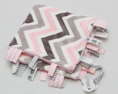 Mini Baby Ribbon Tag Blanket - Minky Binky Blankie - Grey and Pink Chevron