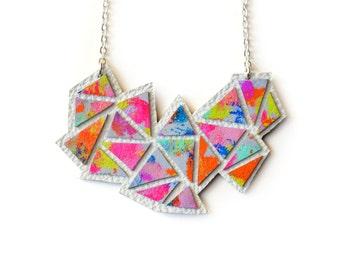 Geometric Necklace, Rainbow Pendant Necklace, Geometric Jewelry, Modern Necklace, Colorful Necklace, Triangle Chevron Necklace