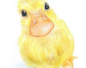Baby Duckling Watercolor Painting- 5 x 7 - Nursery Art - Giclee Print