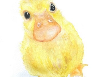 Baby Duckling Watercolor Painting- 5 x 7 - Nursery Art - Giclee Print