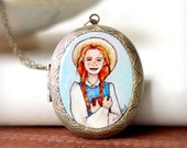 RESERVED -- Anne of Green Gables locket necklace, Hand Painted Jewelry
