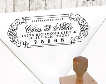 Return Address Stamp – 1.5 x 4 in CALLIGRAPHY FRAME No.4 – Personalized Wedding Paper Goods
