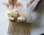 Autumn wedding | hair comb pearl | gold | rhinestone | leaf | fascinator