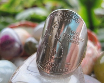 Wraparound Wyoming State Quarter Ring with Sterling Silver Band MADE TO ORDER.
