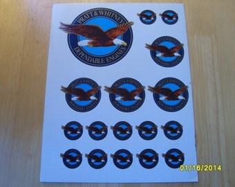 Military Decals, Stickers, Pratt & Whitney Decals, Pratt Whitney Stickers, Sheet of Decals