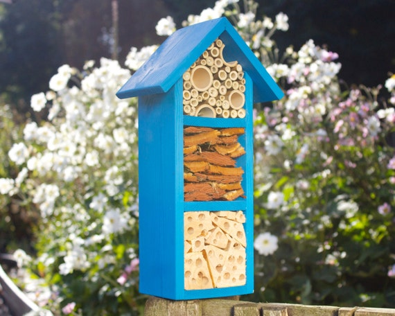 CLEARANCE Bee and Insect Hotel, three tier, in 'Cool Azure'.