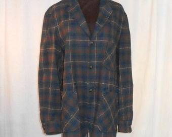 Vintage Pendleton Wool Womens Wool Coat Womens Wool Blazer Vintage Blazer Plaid Wool Coat / Jacket