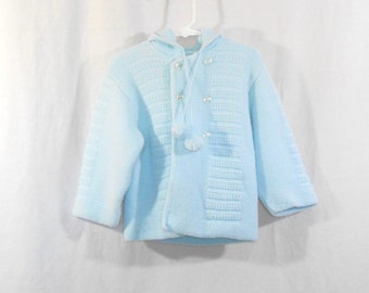 Baby Sweater Blue Sweater Boys Sweater Hooded Sweater Vintage Sweater Vintage Baby Clothes