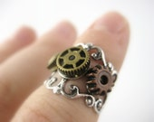 Above Knuckle Ring Silver or Bronze - Mid Knuckle Ring - Steampunk Ring - Steampunk Jewelry
