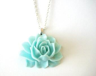 Long Seafoam Necklace - Sterling Silver Mint Jewelry - Sea Foam Green Necklace - Light Blue Chunky Aqua Statement Jewelry