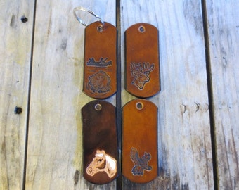 2 Handmade Leather Key Fobs with Free Initials