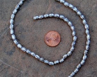 Etched Nickel Silver Beads: 3x5mm