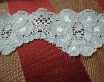 "10 yards of 1 1/2"" Ivory natural shimmery stretch scroll lace trim to altered your fashion and lingerie designs ST"