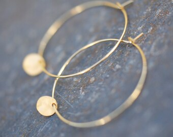 Tiny gold coin charm on delicate gold hoop earrings, everyday earrings, gold coin earrings, hoop earrings