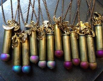 Druzy Bullet Necklace/ Crystal Bullet Necklace/ Charm Pendant/ Natural Gem Stone/ Bullet Necklace/ Layered Necklace/ Titanium Quartz