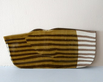 Striped Sushi Plate / Nerikomi Stripy Sushi Dish with Golden Celadon Glaze / Platter / GOLDEN STRIPE