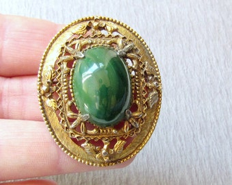 Florenza Brooch Green Peking Glass Gold Tone Pendant