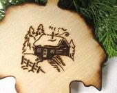 Rustic Christmas House Ornament, Housewarming Gift, Custom House Ornament, Wood Ornament, Engraved Ornament, Cabin Tree Decor, Snow, Natural