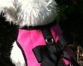 Very Pink Fleece Small Dog Harness with Bow Made in USA
