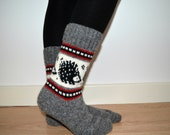 READY TO SHIP Wool Socks Hedgehog Winter Christmas Grey White Black Red Color Work