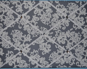 "Gray & white floral french memo board, large 18"" x 24"""