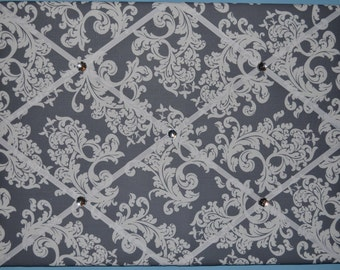 Gray & white floral french memo board, 16 x 20