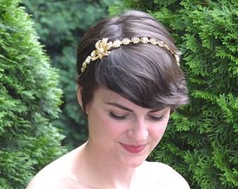 Bridal Headband,Wedding Headband,Bridal Hairband,Wedding Hairband,Bridal Headpiece,Gold Rhinestone Pearl Headpiece,Diamante Hairband