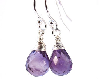 Sterling Silver Purple Amethyst Earrings, Purple Earrings, February Birthstone Earrings, Birthday Gift, Bridesmaid Gift