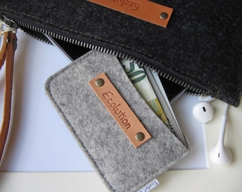 Wool felt business card holder.Credit card case.Eco friendly.Handmade.Charcoal or silver gray.