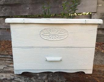 Vintage Recipe Box White Shabby Faux Wood Plastic