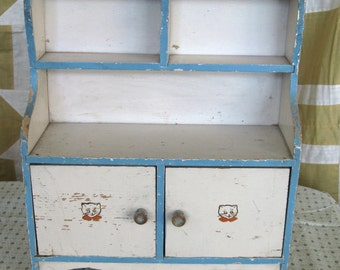 Vintage Toy Step Back Kitchen Cupboard Childrens Doll Cabinet Shabby White and Aqua Blue Paint Chippy