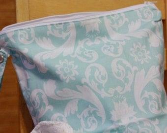 Medium Wet Bag - Turquoise Damask Moda