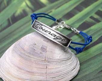 Karma Expression Bracelet Double Leather Strap With Courage Plate
