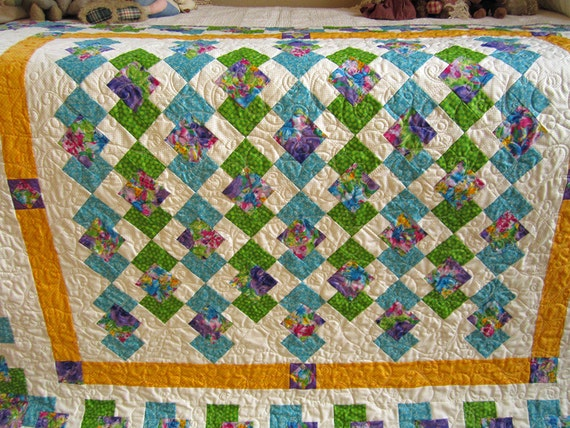 Handmade Quilt Stunning Colors, Patchwork Quilt, Quilted Throw, Geometric, Quilt