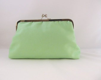 Spring Green Clutch-Clutch-Purse-Handbag-Kisslock-8 inch